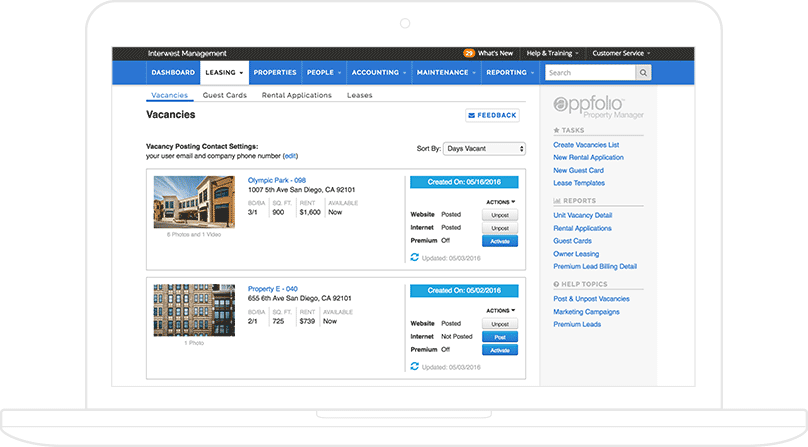 A screenshot of AppFolio's leasing management real-time vacancy dashboard, displayed on a laptop.