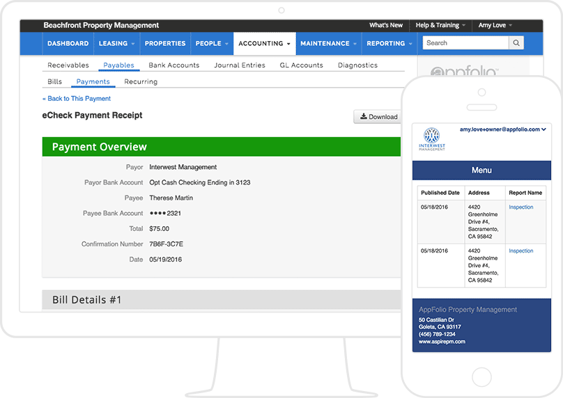 2 AppFolio screenshots: a Payment overview on a laptop & a list of inspection reports on a mobile.
