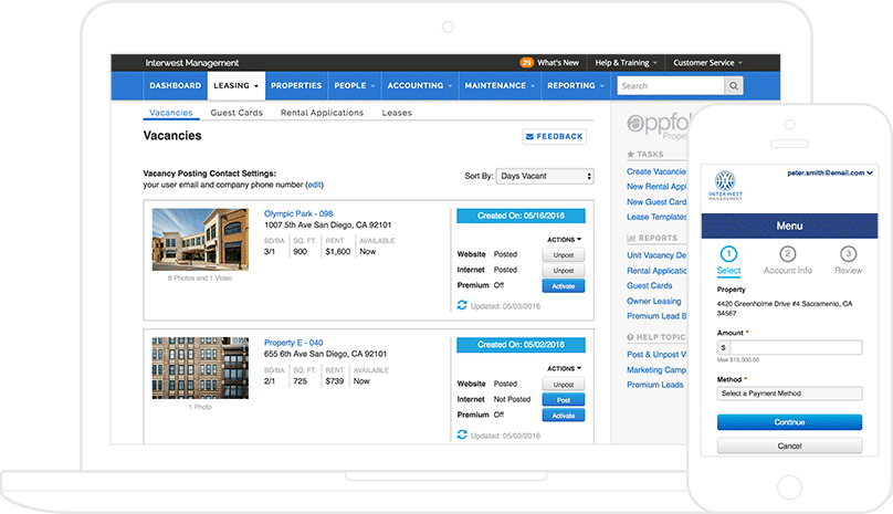 2 AppFolio screenshots: vacancies list displayed on a laptop & payment portal displayed on a phone.