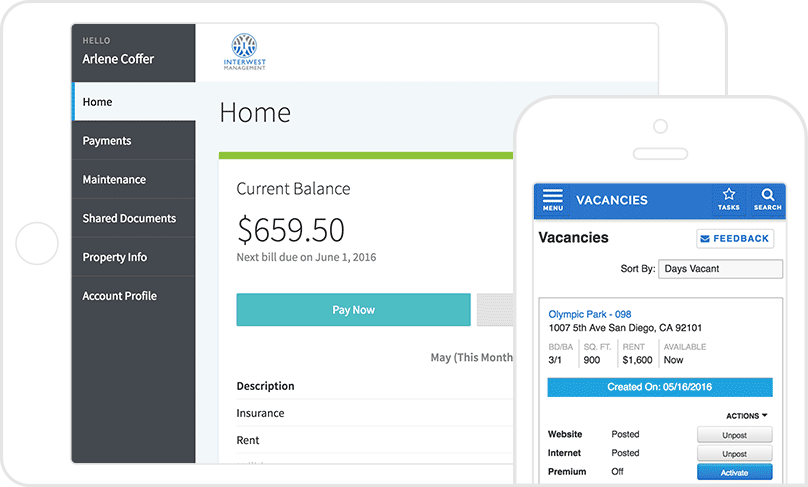 2 AppFolio screenshots: an online rent bill on a tablet & a list of vacancies on a mobile.