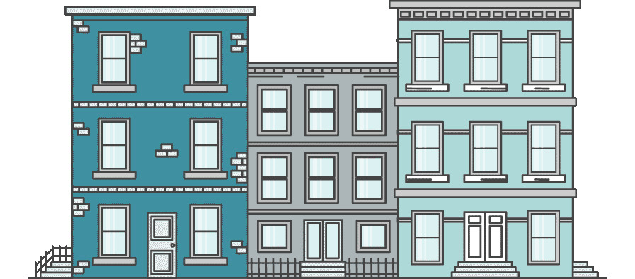 3 multi-storied residential buildings, side by side - illustration.