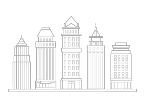 5 high-rise commercial buildings in a row - illustration.