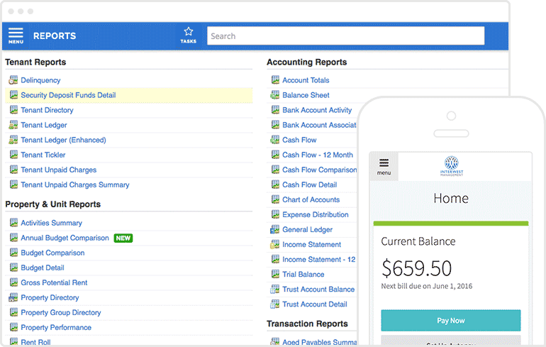 2 AppFolio screenshots: a list of many types of reports on a tablet & an online invoice on a mobile.