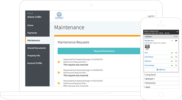 2 AppFolio screenshots: a maintenance request list on a laptop & an inspection checklist on a phone.