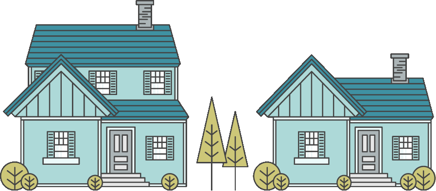 2 blue houses of different sizes with two triangular trees between them - illustration.