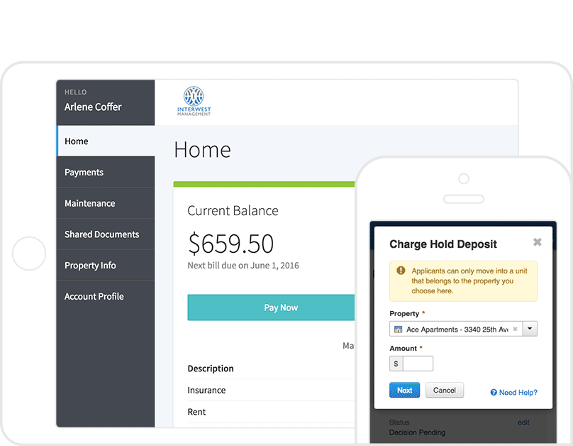 2 AppFolio screenshots: a rental property invoice on a tablet & a charge hold deposit on a mobile.