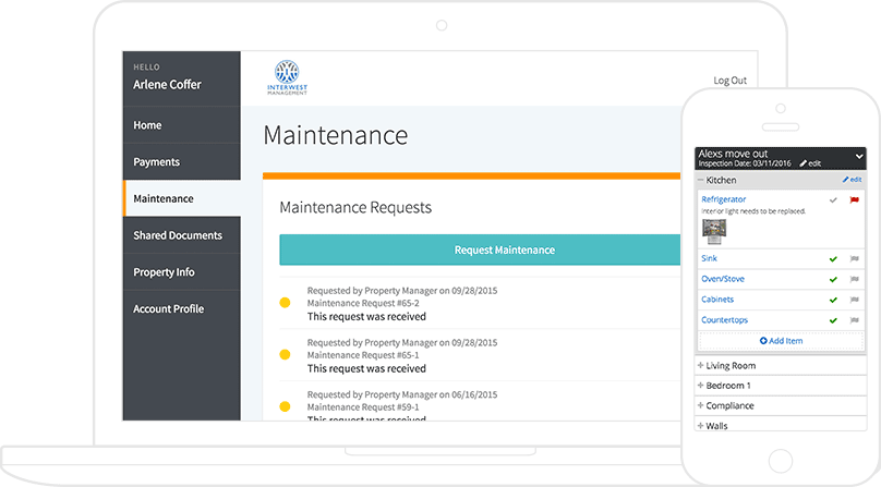 2 AppFolio screenshots: a maintenance request list on a tablet & an inspection checklist on a phone.