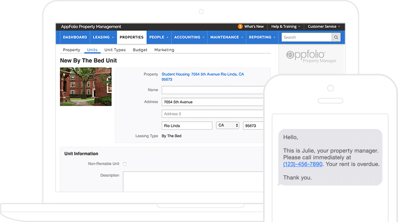 2 AppFolio screenshots: student housing rental unit on a laptop & an overdue rent email on a mobile.