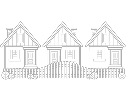 3 sized A-frame house of identical size in a row behind a white picket fence - illustration.